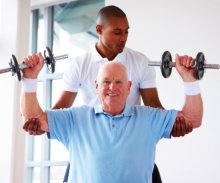 senior man performing exercise